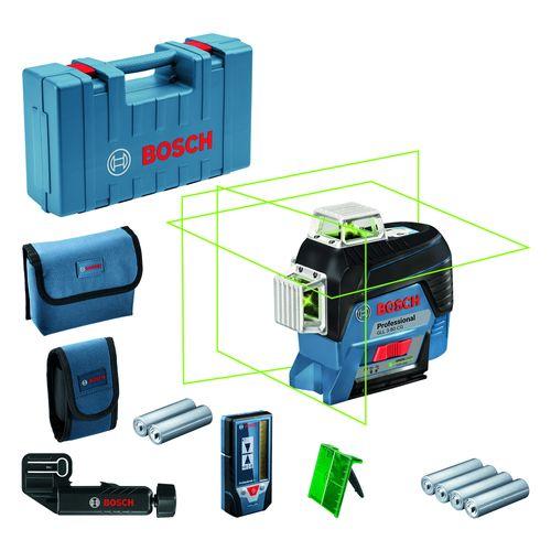 Nivel Laser Bosch 3 Lineas Verdes 360° Gll 3-80cg + Receptor