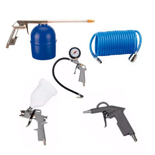 Kit Aire 5 Pzas Compresor Manguera Pistola Pintar Sopletear